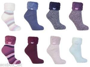 Heat Holders - Ladies Soft Fluffy Thermal Low Cut Lounge Bed Slipper Socks