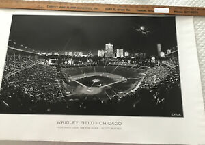 WRIGLEY FIELD-CHICAGO Fans Shed Light on The game by Scott Mutter CUBS VTG Print