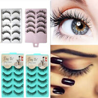 3-10 Pairs Makeup Handmade Long Thick Cross False Eyelashes Eye Lashes