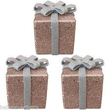 3 Christmas MOCHA BROWN Glitter Gift Box Present 6cm Table Tree Decorations