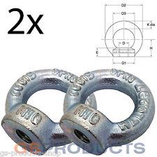 2 x 10mm Eye Nut DIN582 SWL 230kgs (Lifting Gear Eye Bolt Tow Eye) FREE POSTAGE
