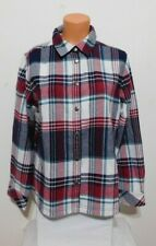 Orvis Women's Fleece Plaid Snap Shirt Jacket Size MEDIUM Navy Red NEW