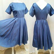 New listing Vintage 1950/60s Blue Satin Full Party Dress - Size M/L