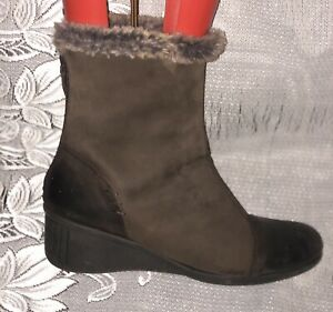 AEROSOLES SOFT LEATHER FAUX FUR LINED WINTER BOOTS - UK 8