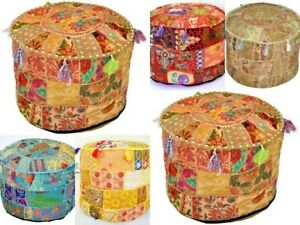 Indien Vintage Mandala Kantha Ottoman Pouf Cover Patchwork Round Floor Pouffe
