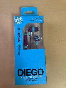 Brand New JLab Diego Tangle-Free Wired Earbuds w/Mic & Track Control