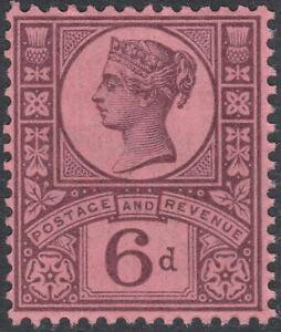 1887 JUBILEE SG208v 6d SLATE PURPLE ON ROSE RED PAPER MINT HINGED K37(3)