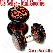 1252 Fake Cheater Illusion Ear Plugs Leopard Cheetah Spots Print Parttern 0G 8mm