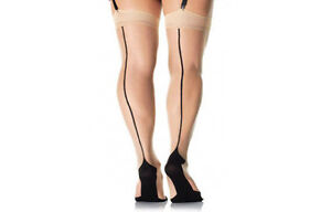Real Raised Seam Vintage Style Seamed Stockings (Contrast Point Heel) All sizes