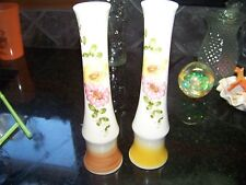 "PAIR 2 HANDPAINTED 8"" BUD VASE, HAND MADE PORTUGAL, FLORAL YELLOW & PINK DAISIES"