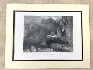 Edwin Landseer Antique Engraving Print Eagles Nest Scottish Highlands Painting