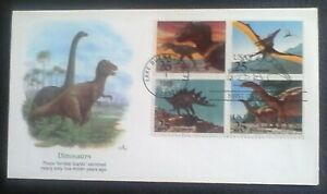 First day of issue, 1989 Prehistoric Animals , Se-tenant, Scott # 2422-25