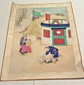 Antique Mongolian Painting on Cloth Butcher with Animal