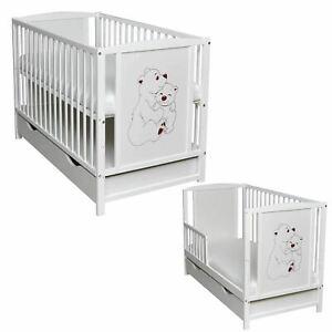 Babybett Juniorbett Bärchen Motiv Weiß 120x60cm mit Bettkasten und Matratze Bär