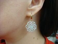 HIGH END 2 CT T.W. LARGE DIAMOND FLOWERS LADIES 18K & 14K GOLD DANGLE EARRINGS