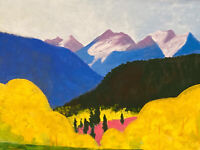 Western Art Yellow Gold Aspen Oil Painting Rocky Mountains Landscape Colorado