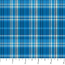 Blue Plaid Cutie Hooties Winter Flannel Northcott Fabrics by the 1/2 yard