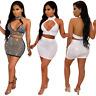 Sexy Women Sleeveless Backless Rhinestones Bodycon Clubwear Party Dress Set 2pcs