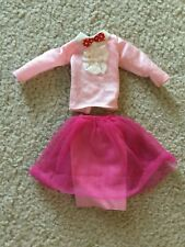 Barbie Doll Top and Skirt Pink Long Sleeve Blouse Lace Trim Hot Pink Skirt Tulle