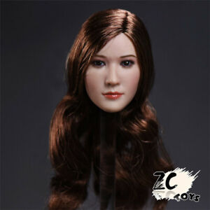 "ZCTOYS 1/6 T-06C Asia Long Curly Brown Head Sculpt Fit 12"" PH TBL Figure Body"