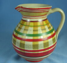 Plaid Bulbous Pottery Pitcher ~ Vintage Earth Tone
