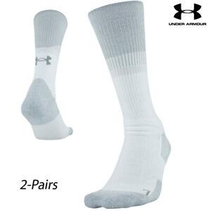 UA Socks: 2-PAIR Unrivaled 3.0 Crew (XL) White