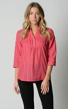 Millers Ladies 3/4 Sleeve 1/4 Button Down Shirt Top sizes 14 16 Colour Melon