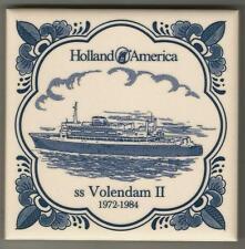 Holland America Line  Blue Delft Tile...Vintage..ss Volendam 2...1972 - 1984