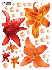 Aufkleber Sticker Wandsticker Wandaufkleber Blume Rot Lilie Lily Fenster Bad WC