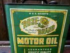 VINTAGE**RARE**ROSE BRAND 2 GALLON METAL OIL CAN SOUTHWICK OIL CO. ROCHESTER NY