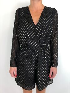 NEXT black with gold spot long sleeve romper playsuit size 10 elastic waist