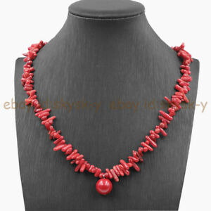Natural Red Coral Chip Beads & 14mm Coral Red Shell Pearl Pendant Necklace 18''