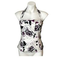 WHBM Strapless Bustier Halter Top   2   White with Floral   Women's