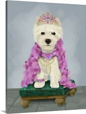 West Highland Terrier with Tiara Canvas Art Print