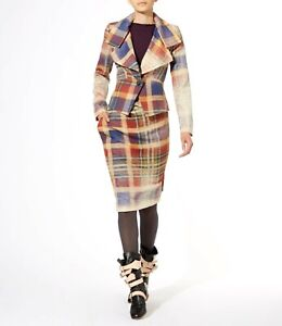 £475 VIVIENNE WESTWOOD ISOLATION 38 Tartan Check Tailored Virgin Wool Skirt
