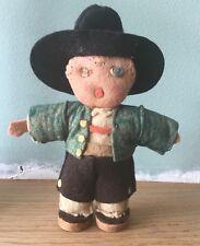 PETITE ANCIENNE VINTAGE 1940/50s Handmade caractère Permanent Feutre poupée