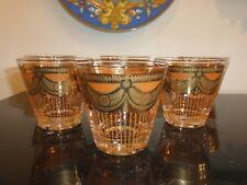 Georges Briard Mid Century Orange Curtain Old Fashioned Glasses