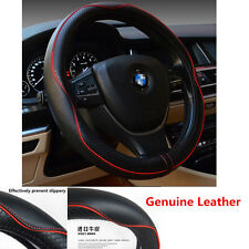 1Pcs 38cm Real Leather Car  Auto Steering Wheel Cover Anti-slip Sleeve Protector