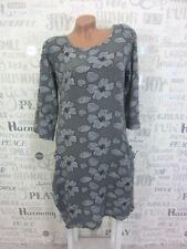 NEU ITALY Sommerkleid Tunika Strand Kleid LEINEN-Optik 36 38 40 42 Grau E683