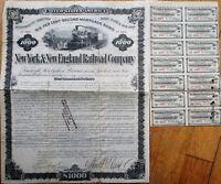 New York & New England Railroad Company 1882 Stock/Bond Certificate- MA CT RI NY