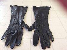 "Women's Lovely ""Glovers Guild"" Black Soft Leather Gloves- 6 1/2"