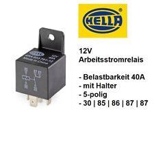Hella Arbeitsstrom Relais 5-pol 12V 40A  + Halter Schließer 30|85|86|2x87