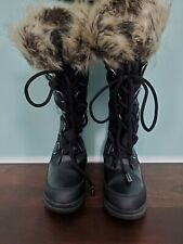 GUESS Tall Lace-Up Winter Boots Sz. 6M Black/Fur