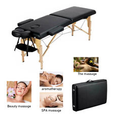 "Black 84"" 2-Fold Portable Massage Table Chair Bed Spa Facial W/Free Carry Case"