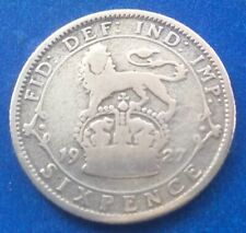 1927 KING GEORGE V SILVER SIXPENCE COIN 92ND BIRTHDAY