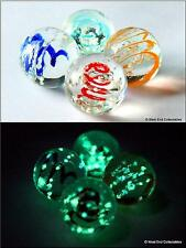 4 x 16mm Luminescent Glow In The Dark Glass Marbles - Handmade Collectors Set