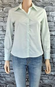 Ex Catalog Green Striped Long Sleeved Cotton Blouse Top Shirt Size 8