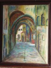 VTG Oil Painting Canvas Jerusalem Framed Modern Israel Art