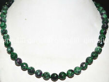 100%Genuine natural 8mm Red Green Ruby Zoisite Round Gemstone Necklace 18 inches