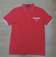 """FRED PERRY Pique Polo Shirt Red Extra Large XL 40""""  H3-B1"""